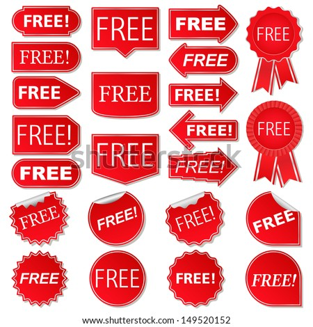 Free labels, collection of red stickers, vector eps10 illustration - stock vector