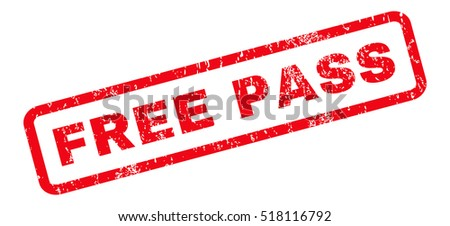 Free Pass text rubber seal stamp watermark. Caption inside rounded rectangular banner with grunge design and dirty texture. Slanted vector red ink sign on a white background.