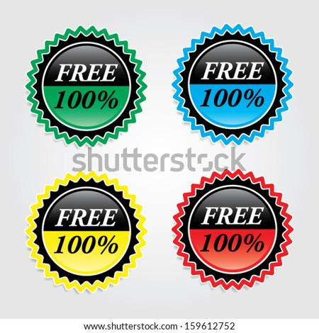 Free 100 percent signs, labels, sticker, icons, and symbol. Vector.  - stock vector