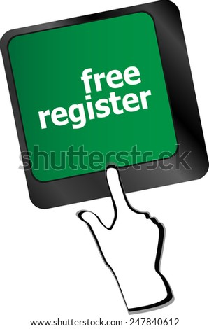 free register computer key showing internet login - stock vector