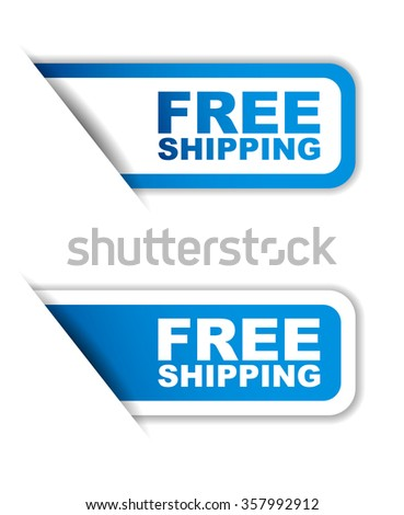 free shipping, blue vector free shipping, blue sticker free shipping, set stickers free shipping, element free shipping, sign free shipping, design free shipping, illustration free shipping - stock vector