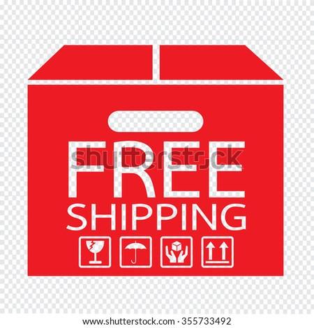 Free Shipping Box icon Illustration symbol design - stock vector