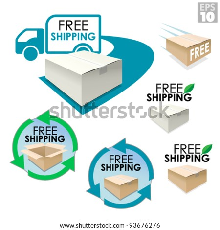 Free shipping boxes, truck delivery with package, eco friendly box - stock vector