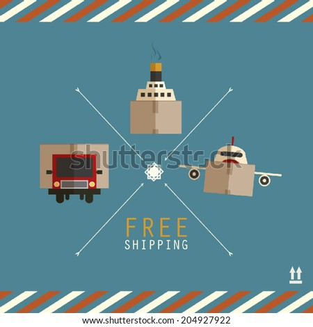 Free shipping carriers made of cardboard boxes - stock vector