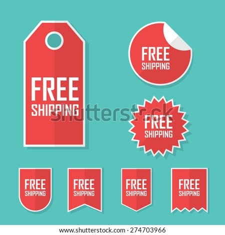 Free shipping sticker. Transport cost delivery no charge. Modern flat design, red color tag. Advertising promotional price label. Eps10 vector illustration. - stock vector