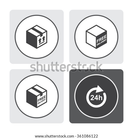 Free shipping vector icon. Free delivery sign. Package box. 24 hours vector icon. Full rotation. - stock vector