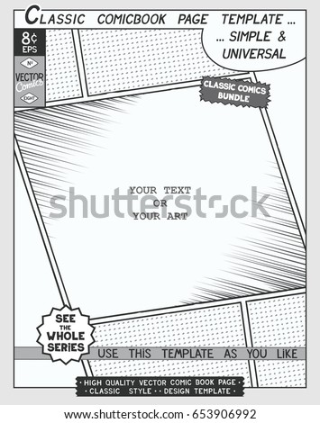 Free Space Comic Book Page Template Stock Vector