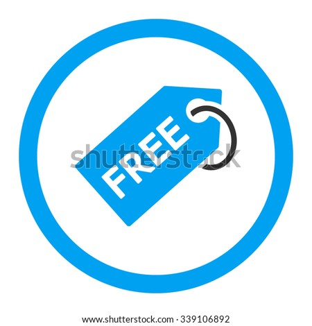 Free Tag vector icon. Style is bicolor flat rounded symbol, blue and gray colors, rounded angles, white background. - stock vector