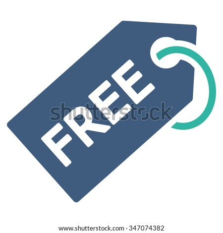 Free Tag vector icon. Style is bicolor flat symbol, cobalt and cyan colors, rounded angles, white background. - stock vector
