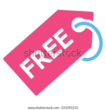 Free Tag vector icon. Style is bicolor flat symbol, pink and blue colors, rounded angles, white background. - stock vector