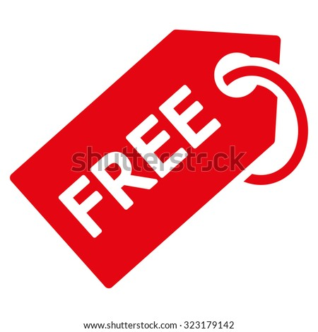 Free Tag vector icon. Style is flat symbol, red color, rounded angles, white background. - stock vector