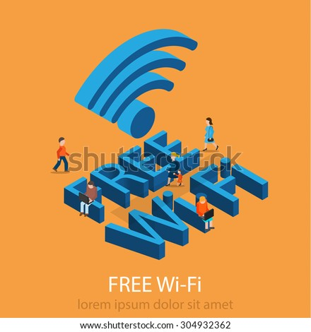 Free Wi-Fi concept with tiny people holding laptops and surfing in the Internet, vector illustration - stock vector