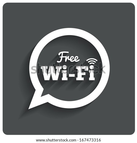 Free wi-fi icon. Wifi speech bubble. Wireless Network symbol. Wifi zone. Flat icons. Vector. - stock vector