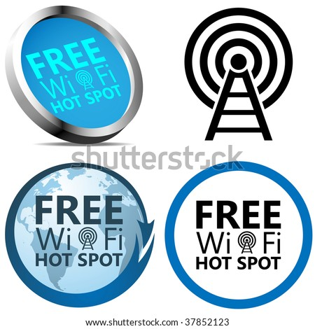 Free Wi-Fi Internet access signs isolated on white background. - stock vector