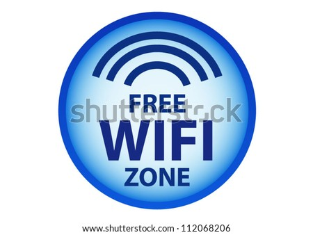Free wifi here sign concept in blue circle - stock vector