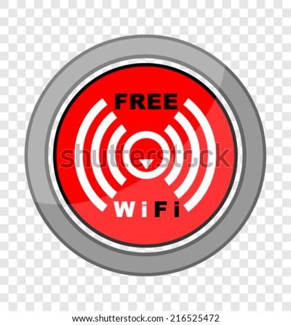 Free Wifi, icon vector - stock vector