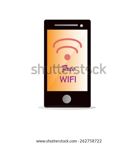 free wifi icon with mobile phone vector - stock vector