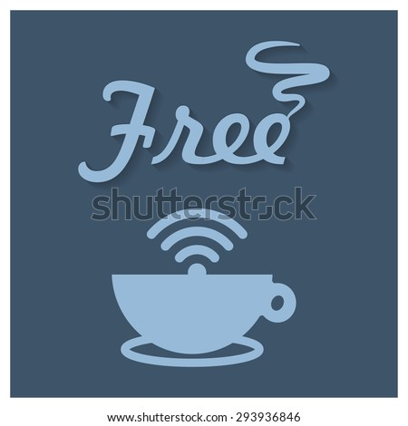Free wifi in coffee shop concept poster - stock vector