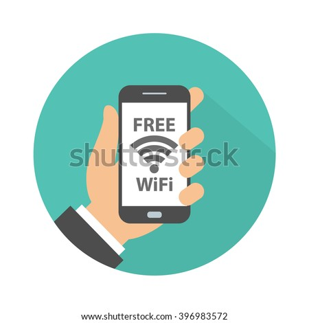 Free wifi sign concept. Hand holding mobile phone with free wifi text and wifi symbol on the display. Flat design with long shadow - stock vector