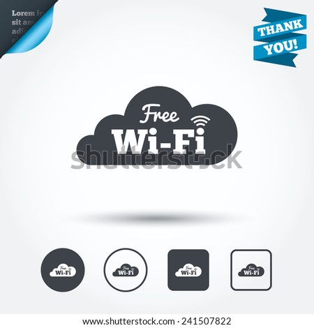 Free wifi sign. Wifi symbol. Wireless Network icon. Wifi zone. Circle and square buttons. Flat design set. Thank you ribbon. Vector - stock vector