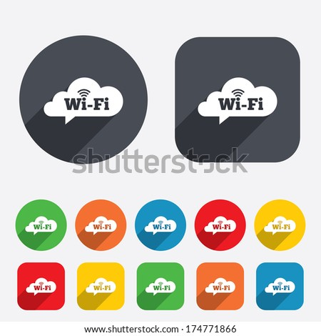 Free wifi sign. Wifi symbol. Wireless Network icon. Wifi zone. Circles and rounded squares 12 buttons. Vector - stock vector
