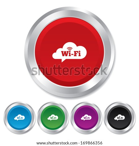 Free wifi sign. Wifi symbol. Wireless Network icon. Wifi zone. Round metallic buttons. Vector - stock vector