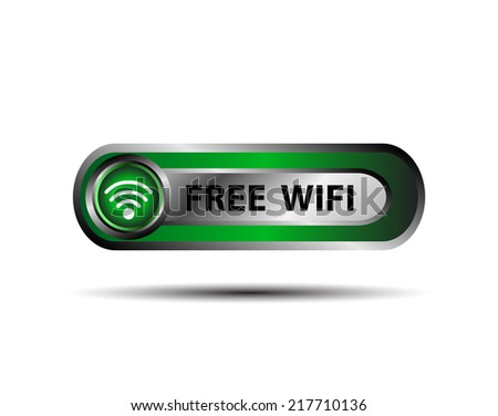 Free WiFi wireless button vector - stock vector