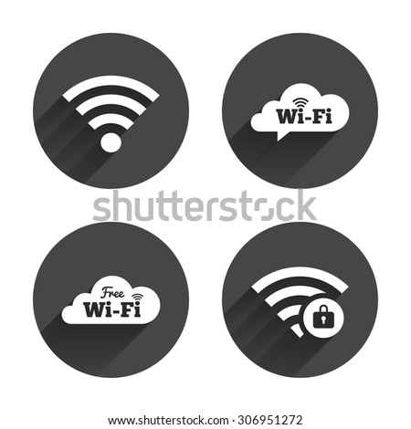 Free Wifi Wireless Network cloud speech bubble icons. Wi-fi zone locked symbols. Password protected Wi-fi sign. Circles buttons with long flat shadow. Vector - stock vector