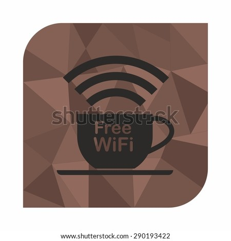 Free wifi zone, icon concept for cafe or coffee shop  on on polygon style background, Abstract geometric background  - stock vector