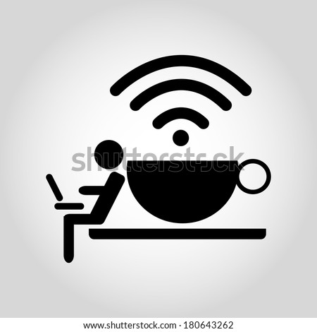 Free Zone Wi-Fi icon in the coffee shop. - stock vector