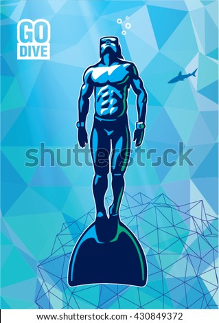 Freediver under water with monofin. Illustration in the sport logo style - stock vector