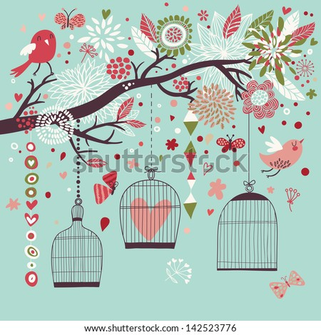 Freedom concept card. Birds out of cages. Romantic floral background in blue colors. Spring birds flying on the branch - stock vector