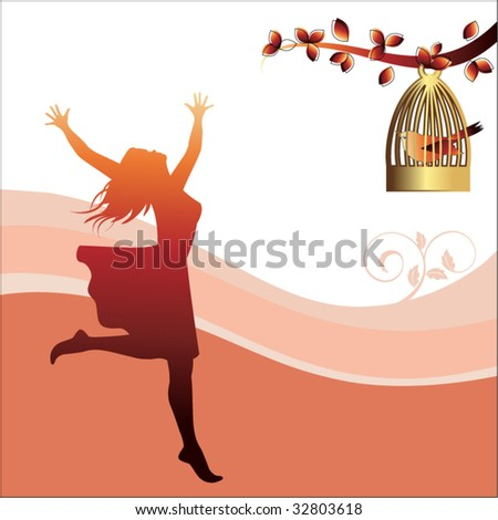 freedom concept girl running with abandon and bird caged - stock vector