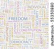 FREEDOM. Seamless vector pattern with word cloud. Illustration with different association terms. - stock photo