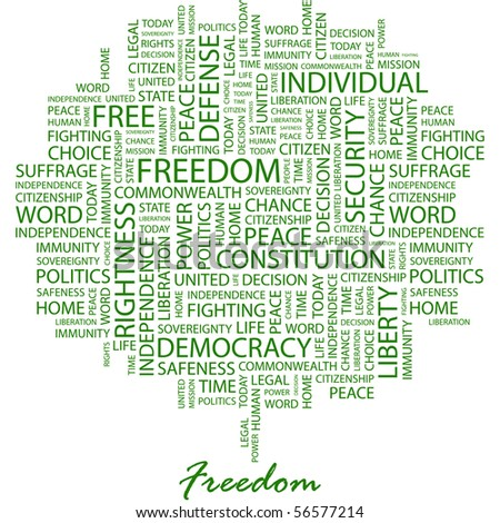 FREEDOM. Word collage on white background. Word cloud concept illustration of  association terms. - stock vector