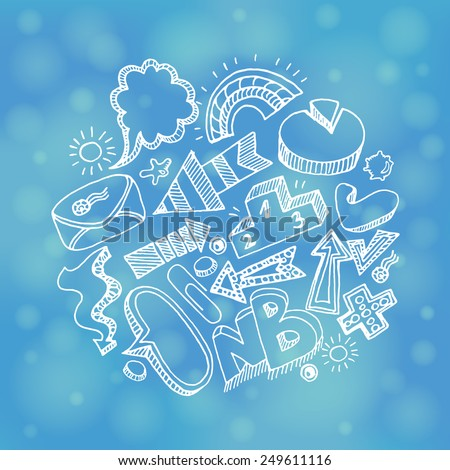 Freehand drawing. Business, direction and success doodles on the blue blurred background. - stock vector