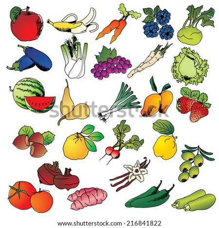 Freehand drawing fruits and vegetables icon set - vector eps 10 illustration - stock vector