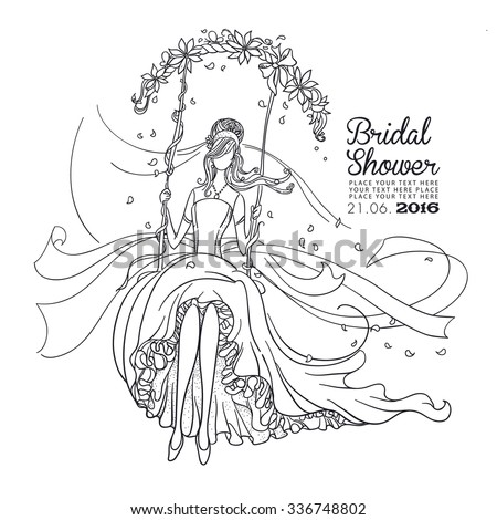 Freehand drawing of a Beautiful Bride on a swing. Black outline drawing. Bridal Shower invitation card. - stock vector