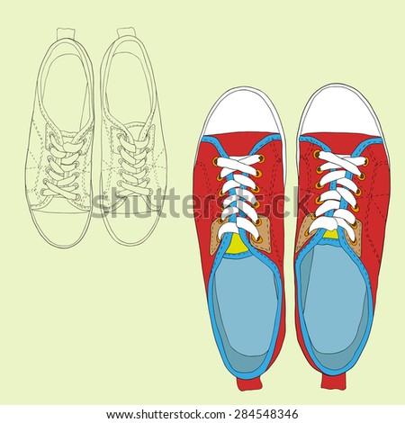 Freehand drawing of sneakers on a white background. Vector illustration.