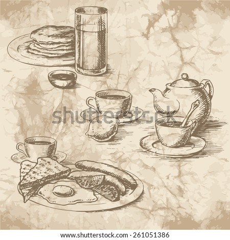 Freehand drawing of the breakfast on the old paper. Sausages, eggs, sunny side up, toast, crumpets, lemon, tea, juice and coffee with kettle. Vintage style of food design. - stock vector