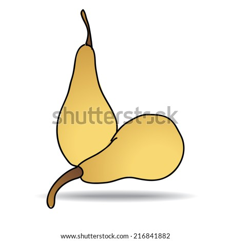 Freehand drawing pear icon - vector eps 10 illustration - stock vector