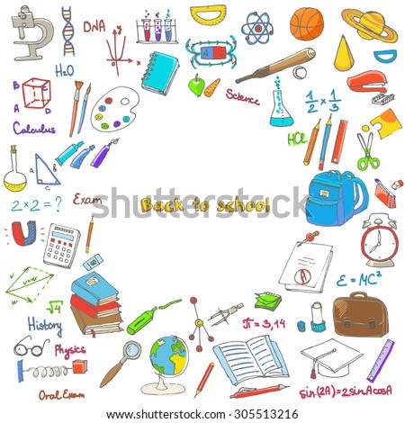 Freehand drawing school items, Back to School. Hand drawing set of school supplies sketchy doodles vector illustration, doodles, science, physics, calculus, oral exam, history, biology - stock vector