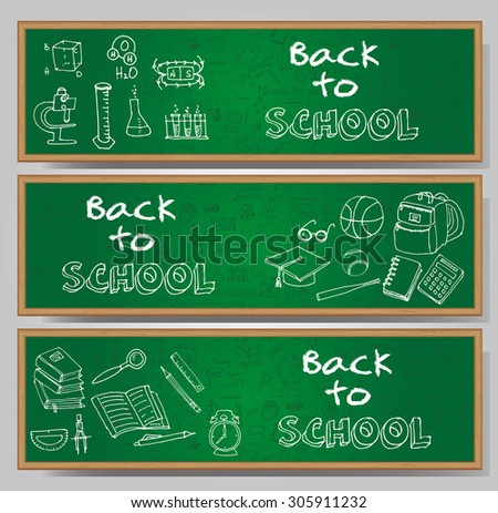 Freehand drawing school items, Back to School. Hand drawing set of school supplies sketchy doodles vector illustration, card templates, science, physics, calculus, oral exam, history, biology - stock vector