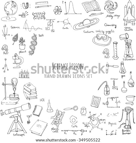 Freehand drawing school items, Back to School Science theme, Hand drawing set of school supplies sketchy doodles vector illustration, doodles, science, physics, calculus, chemistry, biology, astronomy - stock vector