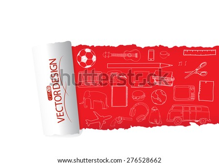 Freehand drawing school items on a paper. Back to School. Vector illustration. Set - stock vector