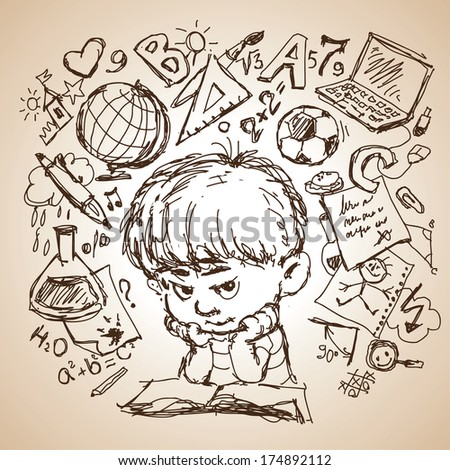 freehand drawing sketch of a boy with a book and education icons. Concept of education.  - stock vector