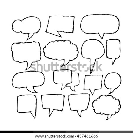 Freehand drawing speech bubble Illustration design - stock vector