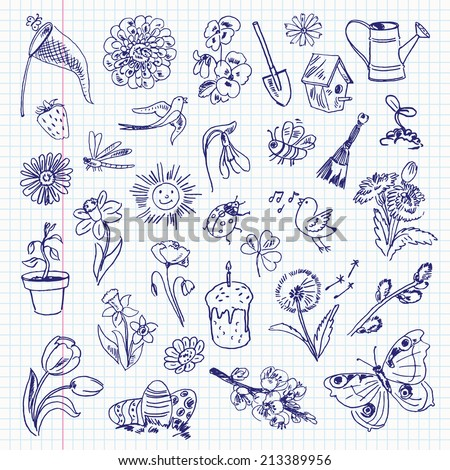 Freehand drawing spring items on a sheet of exercise book. Vector illustration. Set - stock vector
