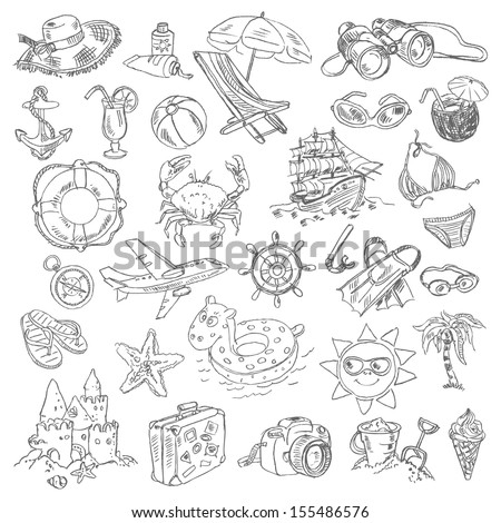 Freehand drawing summer vacation on a sheet of exercise book. Vector illustration. Set - stock vector