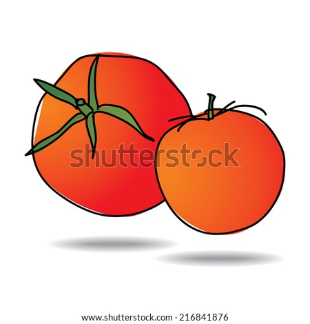 Freehand drawing tomato icon - vector eps 10 illustration - stock vector